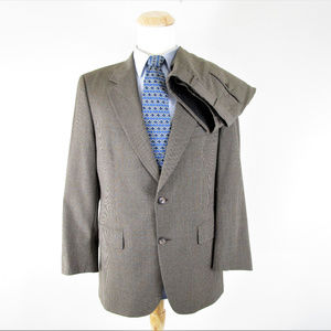 Brooks Brothers Brown Houndstooth Windowpane Suit